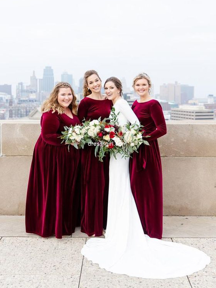 long sleeve burgundy velvet bridesmiad dress.jpg