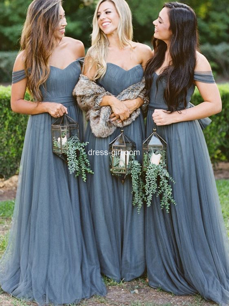 Charming A-Line Off the Shoulder Grey Tulle Open Back Long Bridesmaid Dresses.jpg