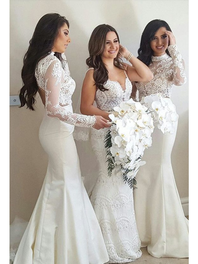 Mermaid Halter Long Sleeve Lace White Long Bridesmaid Dress.jpg