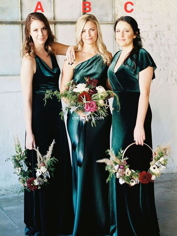 Vintage Sheath V Neck Hunter Green Velvet Cap Sleeve Plus Size Bridesmaid Dresses.jpg