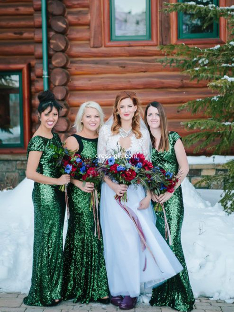 Sparkly Mermaid Round Neck Cap Sleeve Green Sequin Long Bridesmaid Dresses.jpg
