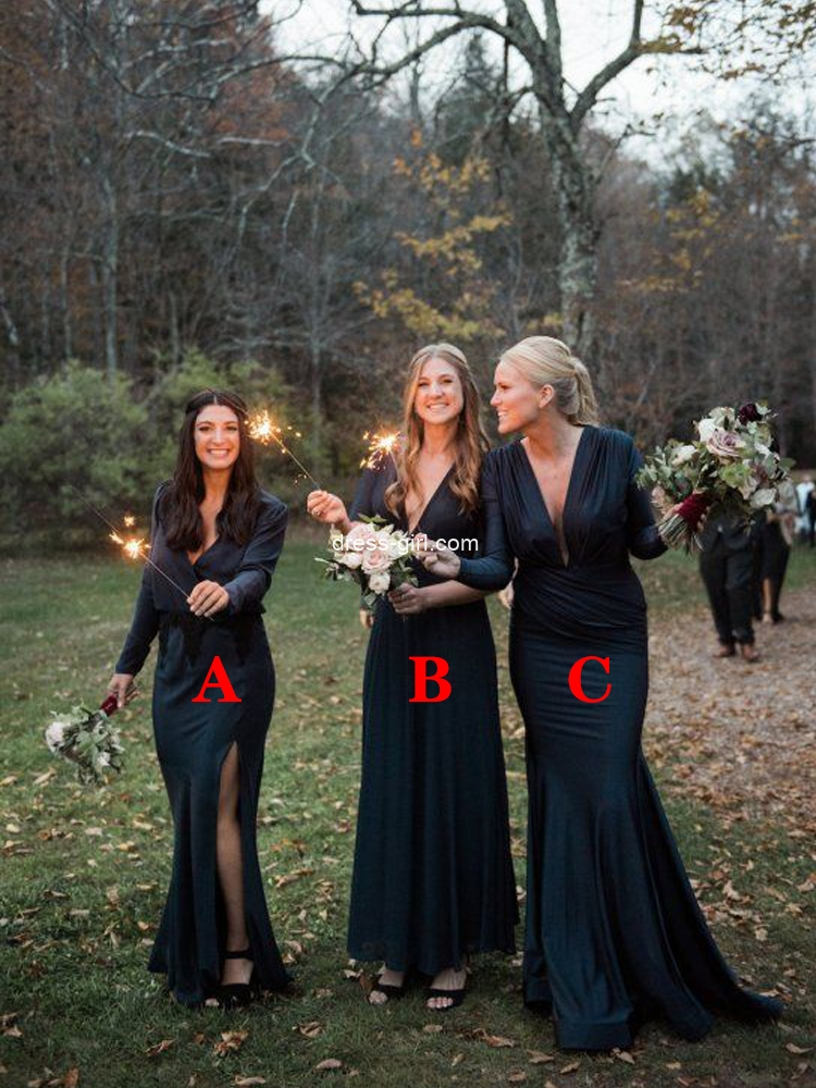 3 Styles V Neck Long Sleeve Satin Long Bridesmaid Dresses with Split,Evening Party Dresses.jpg