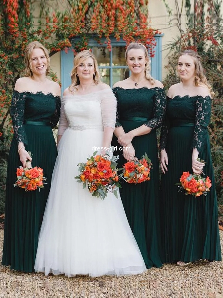 A-Line Off the Shoulder Long Sleeve Dark Green Lace Long Bridesmaid Dresses.jpg
