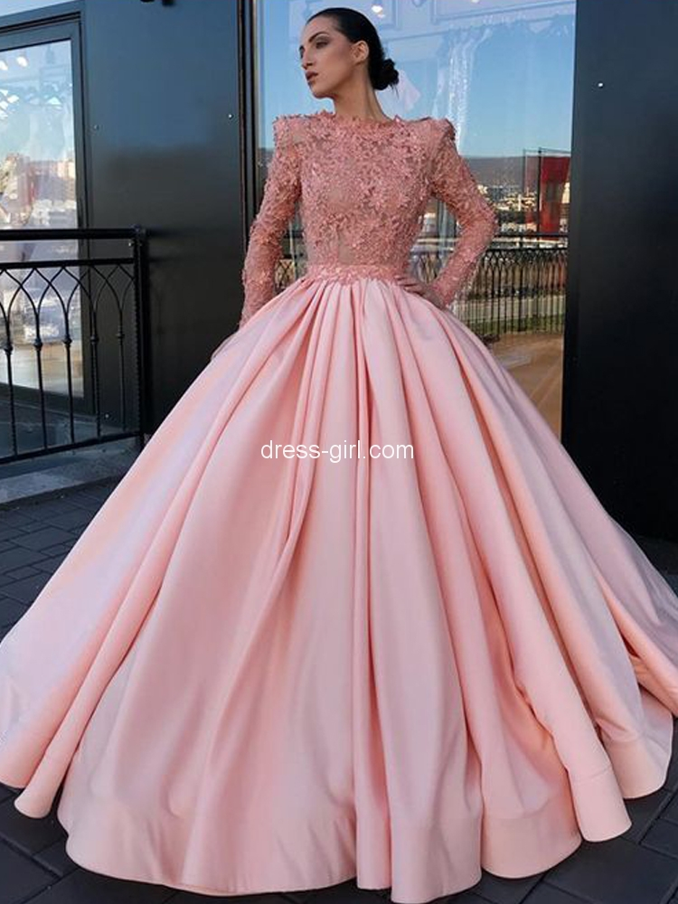 Luxurious A-Line Jewel Long Sleeve Pink Satin Long Prom Dresses with Beading Appliques,Charming Quinceanera Dresses.jpg