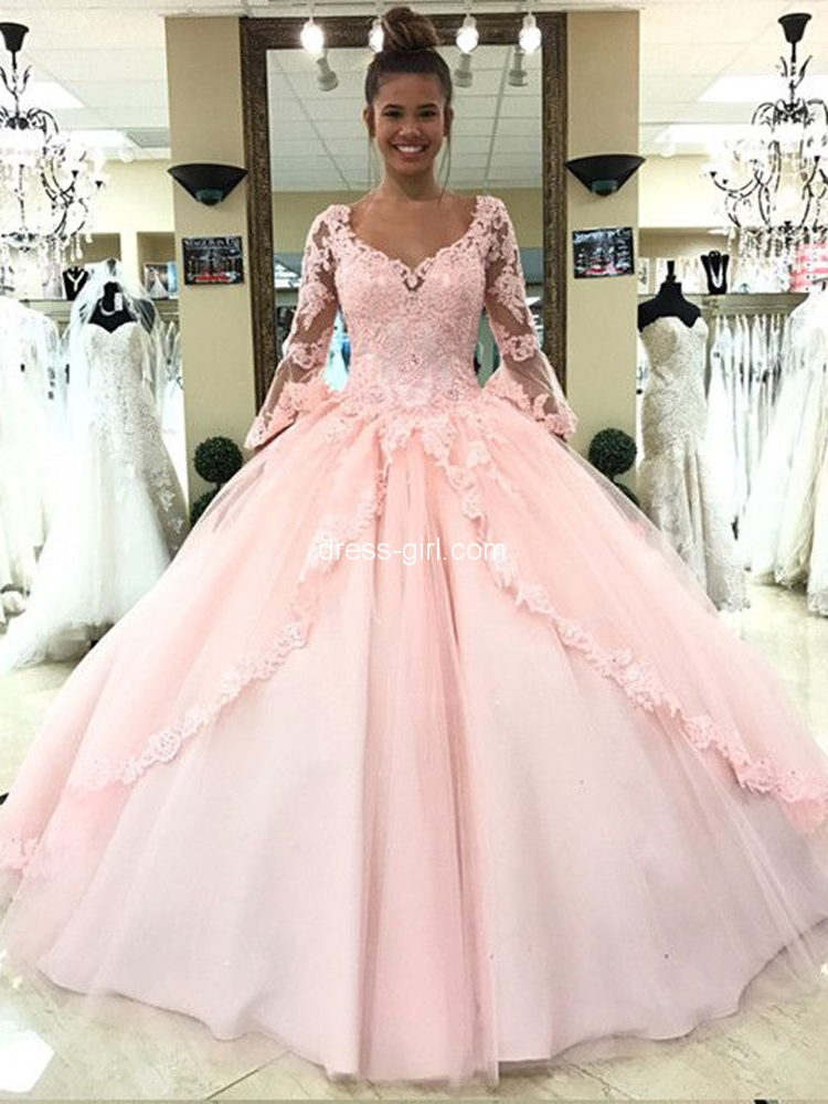 Princess Ball Gown V Neck Long Sleeve Open Back Pink Lace Long Prom Dresses,Quinceanera Dresses.jpg