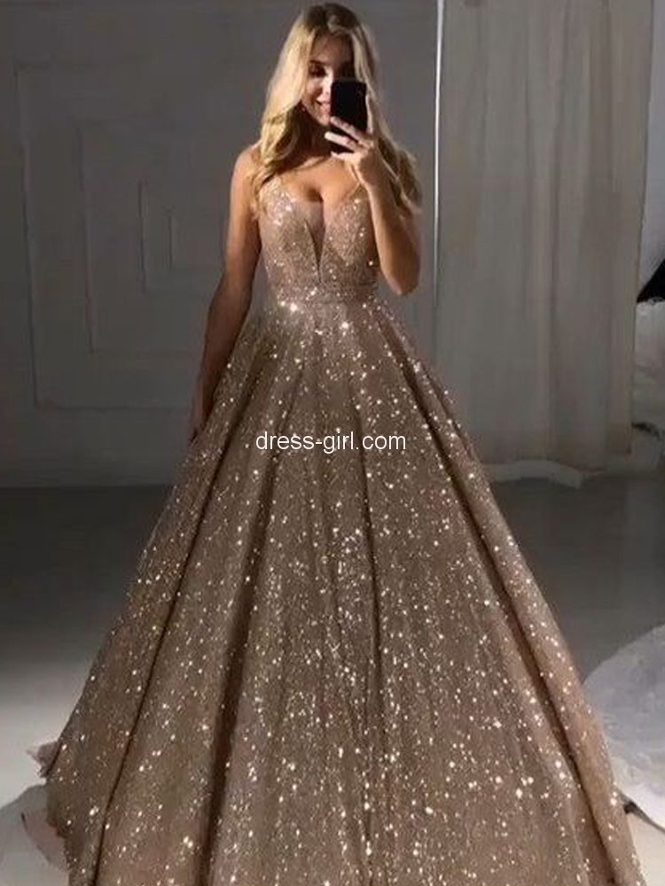 Sparkly Ball Gown V Neck Champagne Sequins Long Prom Dresses,Evening Party Dresses,Quinceanera Dresses Sweet 16 Party Dresses.jpg