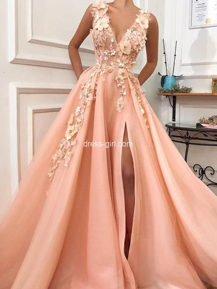 Unique A-Line V Neck Orange Satin Long Prom Dresses with Floral Appliques,Quinceanera Dresses.jpg