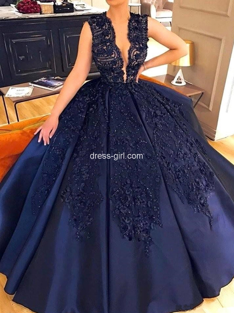 Luxurious Ball Gown V Neck Open Back Navy Blue Satin Long Prom Dresses,Charming Prom Gown.jpg