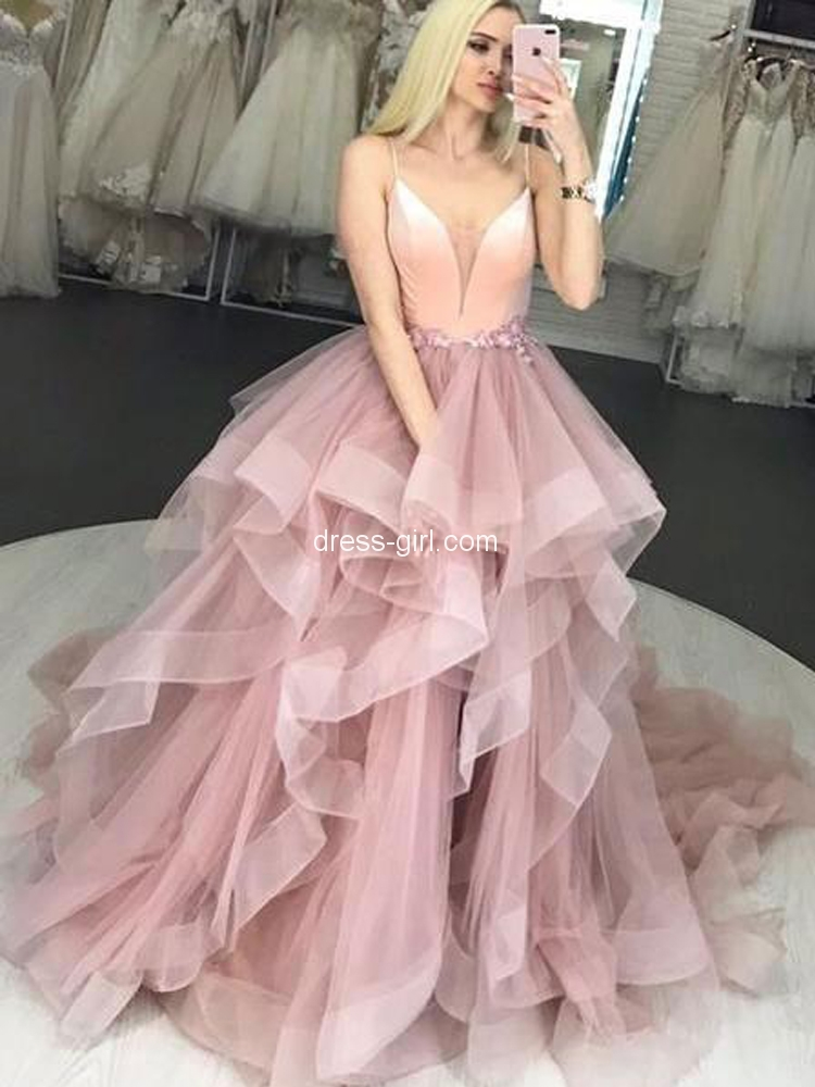 Charming A-Line V Neck Spaghetti Straps Open Back Blush Tulle Long Prom Dresses,Quinceanera Dresses.jpg