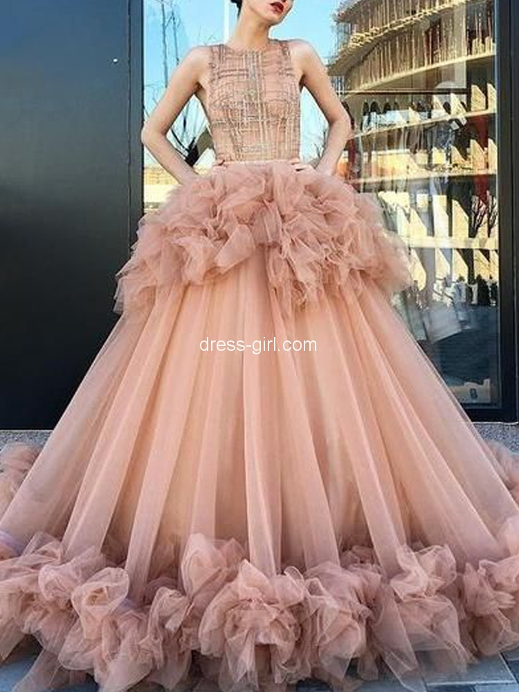 Gorgeous Ball Gown Round Neck Blush Tulle Long Prom Dresses,Charming Evening Gown Prom Gown.jpg