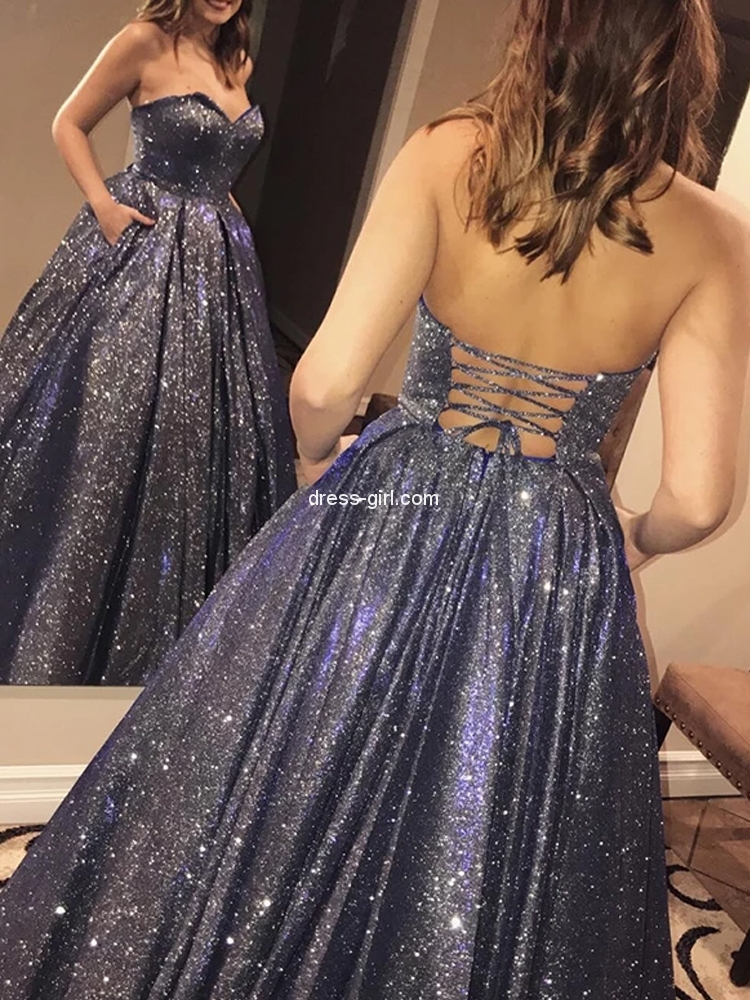 Stunning Ball Gown Sweetheart Lace-up Navy Blue Sequins Satin Long Prom Dresses with Pockets,Girls Junior Graduation Gown,Quinceanera Dresses.jpg
