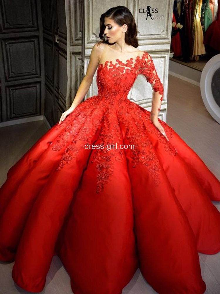 Unique Ball Gown One Long Sleeve Red Satin Long Prom Dresses with Appliques.jpg