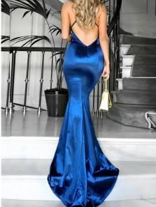 Gorgeous Mermaid V Neck Spaghetti Straps Royal Blue Long Prom Dresses with Train, Elegant Evening Dresses