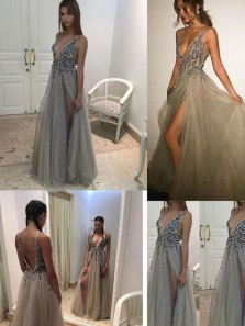 sexy v neck grey long prom dress with side slit, 2018 prom dress, party dress, formal evening dress