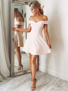 A-Line Off-Shoulder Sweet Heart Junior Short Homecoming Dress Under 100$