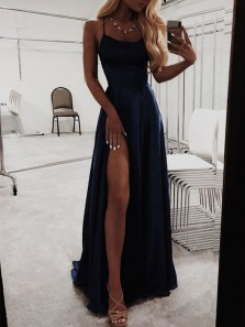 Simple A-Line Scoop Neck Cross Back Black Satin Long Prom Dresses with High Slit, Evening Party Dresses Under 100 DG0530001