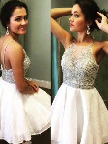 A-Line Cute Straps Beads White Short Prom Dress Homecoming Dress With Beading