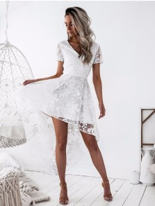 Homecoming A-Line V-Neck Lace-Up High Low White Lace Dress HC0026