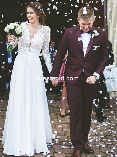 Elegant A-Line V-Neck Sweep Train Chiffon Wedding Dress with Lace Sleeves