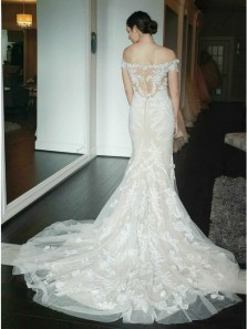 Exquisite  Mermaid Off-the-Shoulder Short Sleeves Ivory Lace Appliqued Wedding Dresses