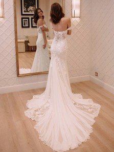 Charming Mermaid Off the Shoulder White Lace Long Wedding Dresses with Court Train, Beach Wedding Dresses WD0717008