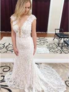 Glamorous Mermaid V Neck Cap Sleeve Lace Wedding Dresses with Train