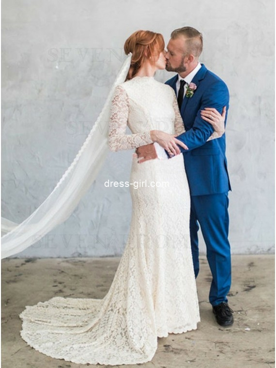 Sheath Jewel Lace Wedding Dress with Long Sleeves Bridal Gown