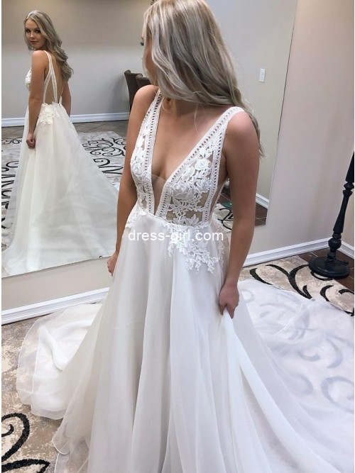 Stylish  A-Line V-Neck Backless White Chiffon Wedding Dress with Appliques