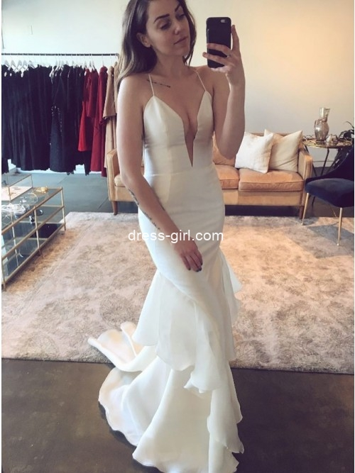 Simple Mermaid V Neck Open Back White Wedding Dresses with Ruffles