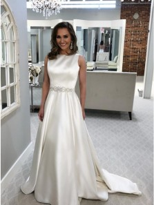 A-Line Bateau Backless Sweep Train Ivory Satin Wedding Dress with Beading