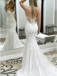 Mermaid Spaghetti Straps Backless Sweep Train White Lace Wedding Dress with Appliques