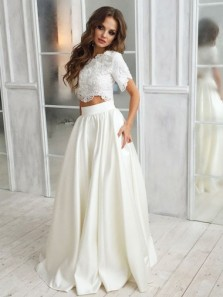 Two Piece Round Neck Short Sleeves Satin Wedding Dress with Lace