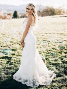 Mermaid V-Neck Sweep Train Sleeveless White Lace Wedding Dress