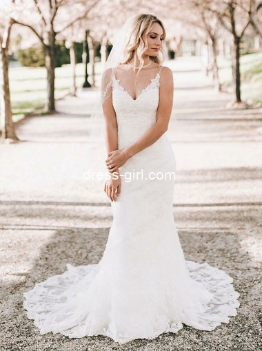 Mermaid V-Neck Sweep Train Sleeveless White Lace Wedding Dress