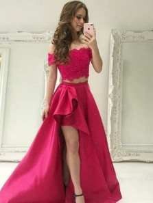 Two Piece Off-the-Shoulder High Low Red Satin Prom Dress with Lace Beading