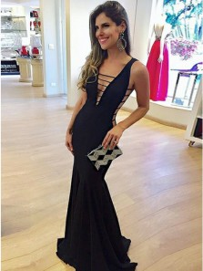 Sexy Mermaid V Neck Open Back Black Elastic Satin Long Prom Evening Dresses