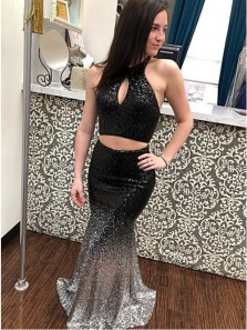 Two Piece Halter Backless Black Sequined Ombre Prom Dress with Keyhole