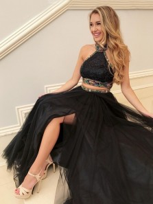 Two Piece Halter Backless Sweep Train Black Prom Dress with Beading Split