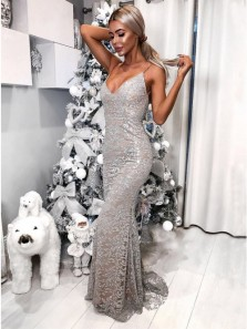 Exquisite Mermaid V Neck Backless Silver Sequins Lace Long Prom Evening Dresses