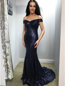 Mermaid Off-the-Shoulder Sweep Train Navy Blue Sequined Prom Dresses