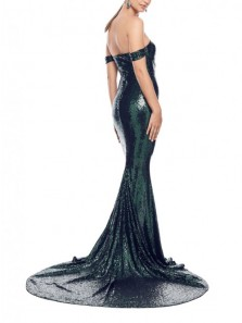 Glitter Mermaid Off the Shoulder Hunter Green Sequins Long Prom Evening Dresses with Train