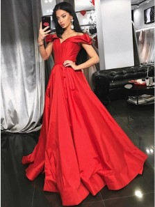 Princess A-Line Off the Shoulder Red Satin Long Prom Evening Dresses with Belt,Formal Party Dresses