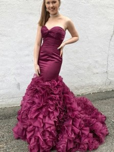 Elegant Mermaid Sweetheart Grape Organze Long Prom Dresses