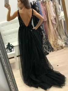 Chic V-Neck Backless Black Prom Dress with Split Beading Long Evening Dress