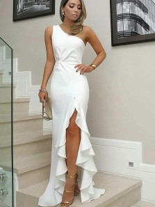 Simple Sheath One Shoulder White Prom Dress with Split Ruffle