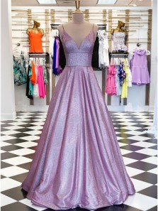 Sparkly Ball Gown V Neck Open Back Lavender Sequins Long Prom Dresses,Formal Party Dresses 190613009