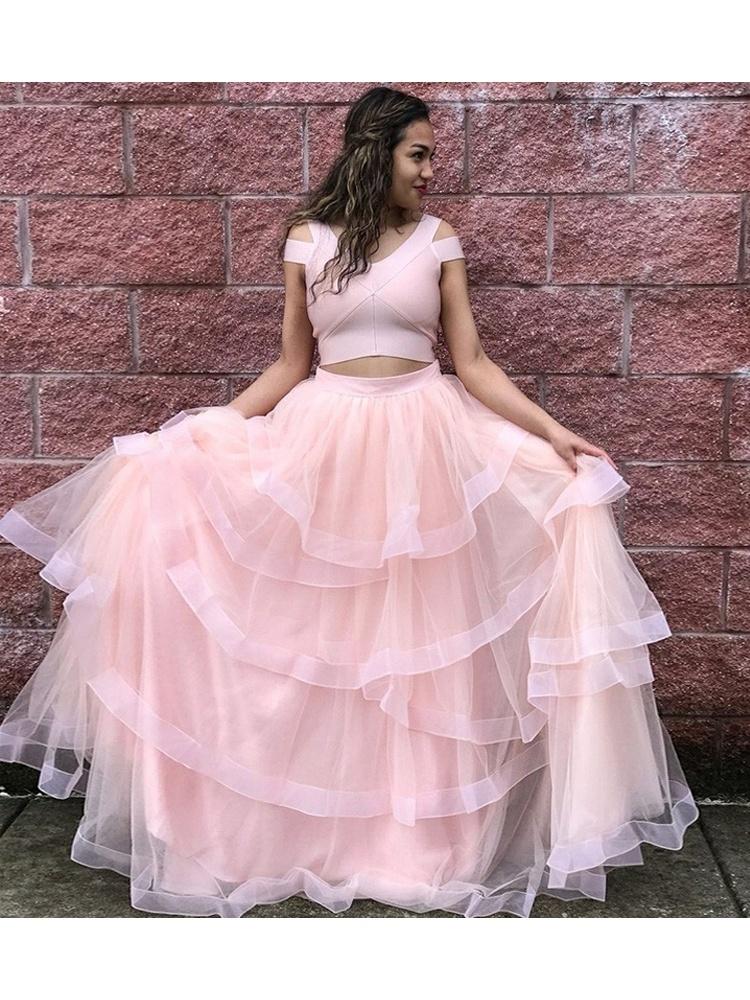 Princess V Neck Cap Sleeve Two Piece Pink Long Prom Dress Elastic Satin  Plus Size Custom Prom Dress