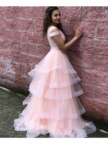Princess V Neck Cap Sleeve Two Piece Pink Long Prom Dress Elastic Satin Plus Size Custom Prom Dress