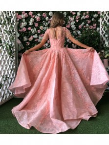 Gorgeous Pink Princess Prom Dress, High Quality Lace Ball Gown Long Party Dresses with Applique