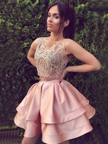 Vintage Two Piece Lace Blush Pink Short Prom Dress, Blush Pink Cute Homecoming Dresses